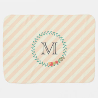 Coral pink decorative floral wreath monogram baby blanket