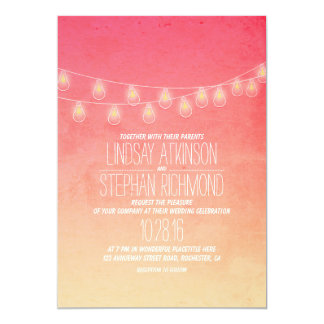 Coral Pink Elegant String Lights Wedding Invites