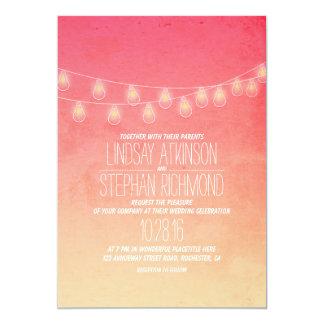"Coral Pink Elegant String Lights Wedding Invites 5"" X 7"" Invitation Card"