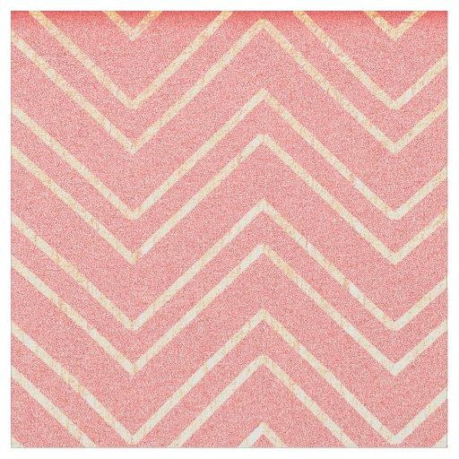 Coral Pink & Faux Gold Zigzag Chevron Pattern