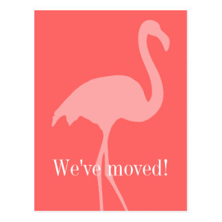 Coral pink flamingo moving postcards for new home