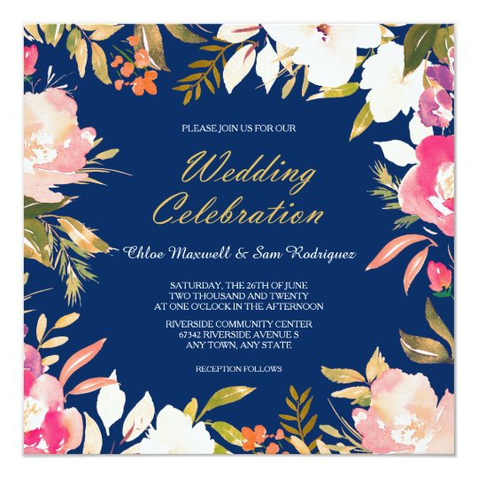 Coral Pink Floral Border on Navy Blue Wedding