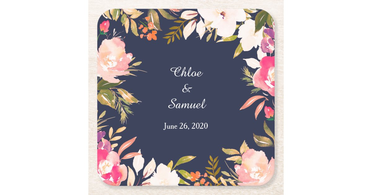 Coral Pink Floral Border On Navy Blue Wedding Square Paper