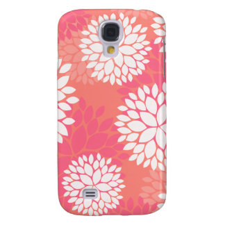Coral Pink Flowers Galaxy S4 Case