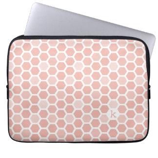 Coral Pink Geo Hexagon Pattern Monogram Laptop Computer Sleeves