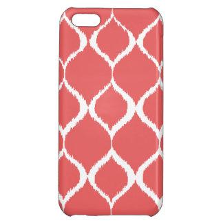 Coral Pink Geometric Ikat Tribal Print Pattern iPhone 5C Cases