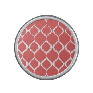 Coral Pink Geometric Ikat Tribal Print Pattern Speaker