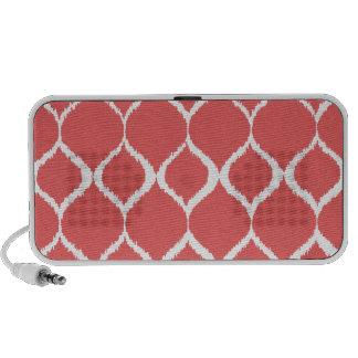 Coral Pink Geometric Ikat Tribal Print Pattern Mp3 Speakers