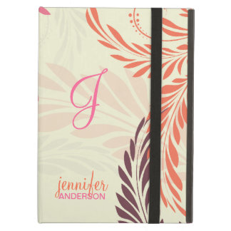 Coral Pink Girly Floral Swirl Pattern iPad Air Cover