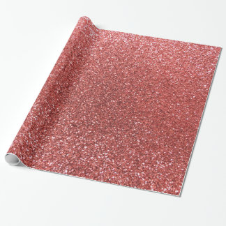 Coral pink glitter wrapping paper
