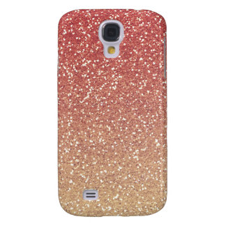Coral Pink Gold Faux Glitter Galaxy S4 Case