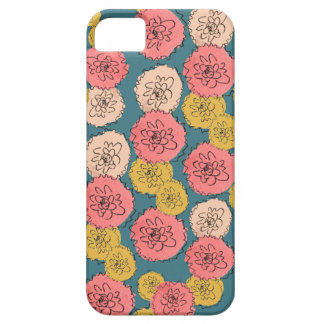 Coral Pink & Gold Mums iPhone 5 Case