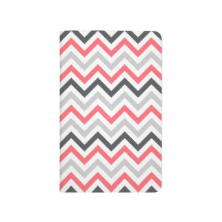 Coral Pink, Gray, and White Chevron Journals