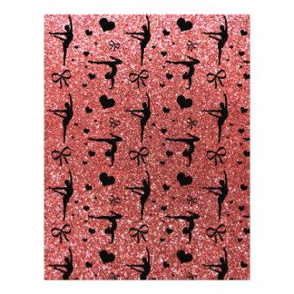 Coral pink gymnastics glitter pattern flyer design