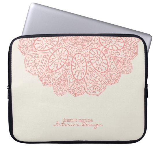 Coral Pink Hand Drawn Henna Circle Pattern Design
