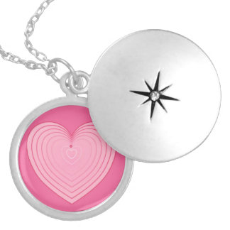 Coral pink heart, deeper pink background pendants
