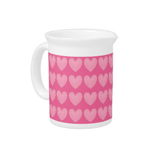 Coral pink hearts, deeper pink background drink pitcher