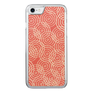 Coral Pink Ikat Overlap Circles Geometric Pattern Carved iPhone 8/7 Case