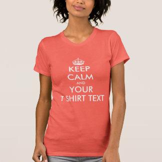 Coral pink Keep calm ladies t shirt | Customizable