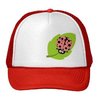 Coral Pink Ladybug Cap