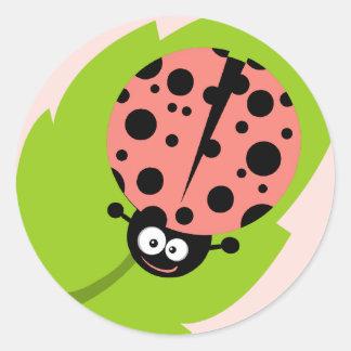 Coral Pink Ladybug Round Sticker