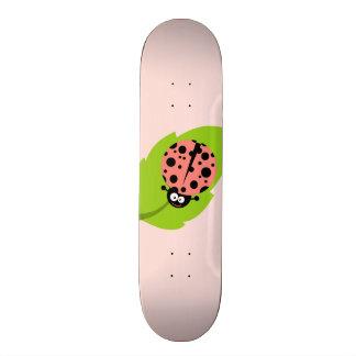 Coral Pink Ladybug Skate Board Deck