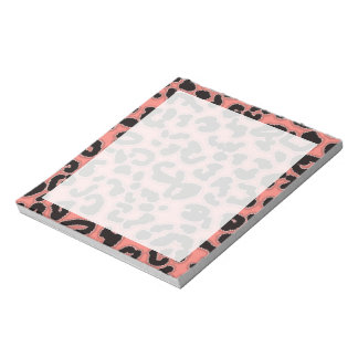 Coral Pink Leopard Animal Print Notepad