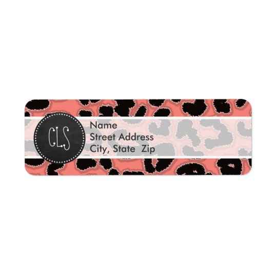 Coral Pink Leopard Print; Chalkboard look