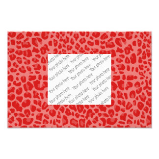 Coral pink leopard print pattern photographic print