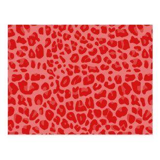 Coral pink leopard print pattern postcard