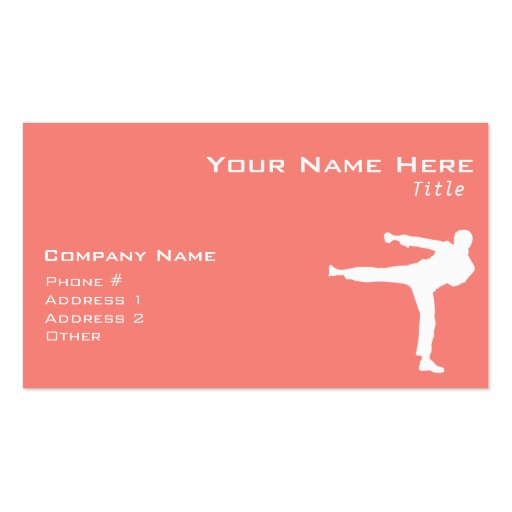 Coral Pink Martial Arts Business Card Template