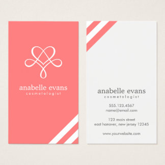 Coral Pink Modern Heart and Swirls Business Card