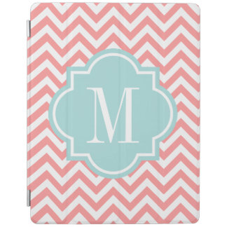 Coral pink monogram automatic on off iPad cover