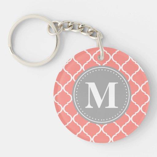 Coral Pink Moroccan Lattice Grey Monogram Acrylic Key Chain