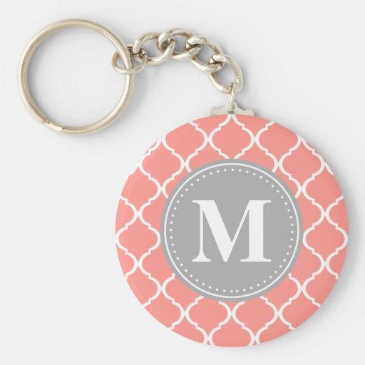 Coral Pink Moroccan Lattice Grey Monogram Key Chain