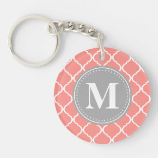 Coral Pink Moroccan Lattice Grey Monogram Single-Sided Round Acrylic Key Ring