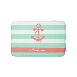 Coral Pink Nautical Anchor and Mint Green Stripes Bath Mat