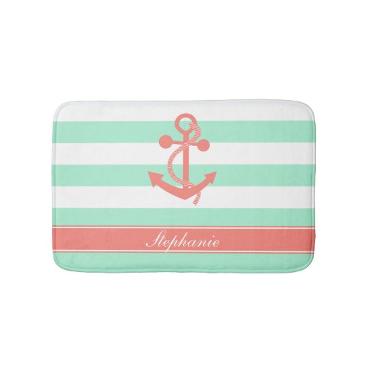 Coral Pink Nautical Anchor and Mint Green Stripes