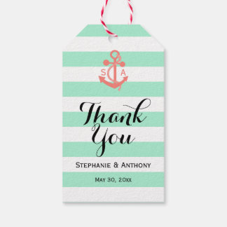 Coral Pink Nautical Anchor and Mint Green Wedding Gift Tags