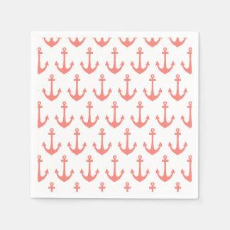 Coral Pink Nautical Anchor Pattern Disposable Serviette