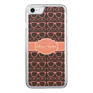 Coral Pink Nerd Glasses Carved iPhone 8/7 Case