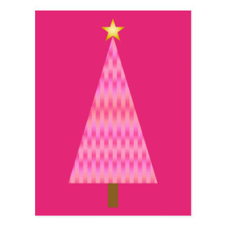 Coral Pink Ombre modern Christmas tree Postcard