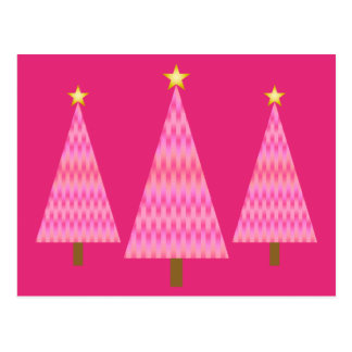 Coral Pink Ombre modern Christmas trees Postcard