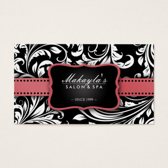 Coral Pink on Black and White Floral Damask Salon Business Card