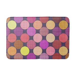 Coral Pink Orange Red Purple Polka Dots Pattern Bath Mat