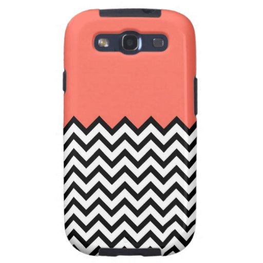 Coral Pink Peach Chevron Zig Zag Samsung Cover Galaxy SIII Case