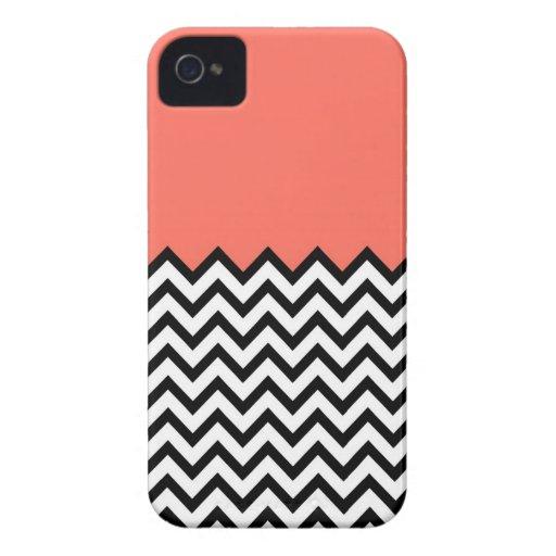 Coral Pink Peach Color Block Chevron iPhone 4 Case