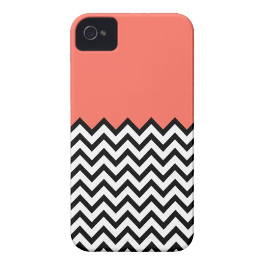Coral Pink Peach Colour Block Chevron iPhone 4 iPhone 4 Cases
