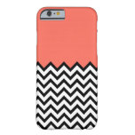 Coral Pink Peach Colour Block Chevron iPhone 6 Barely There iPhone 6 Case