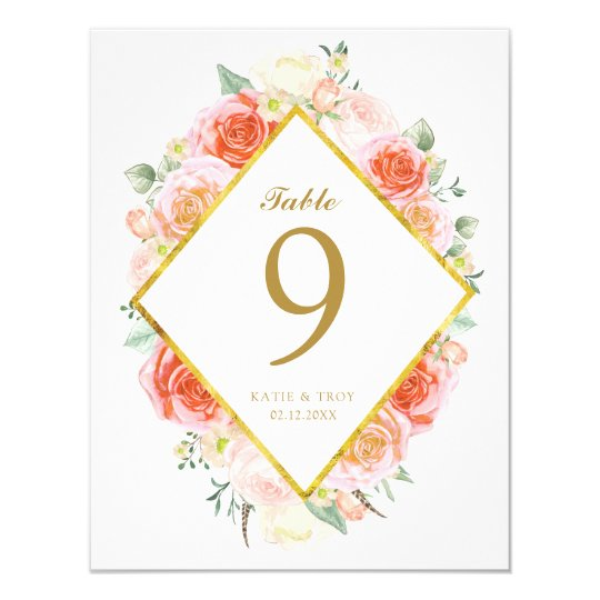 Coral, Pink & Peach Roses Table Number Cards